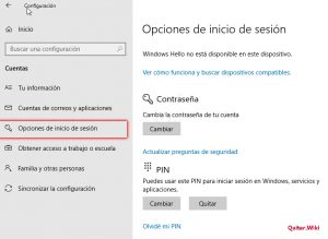 Eliminar pin Windows 10