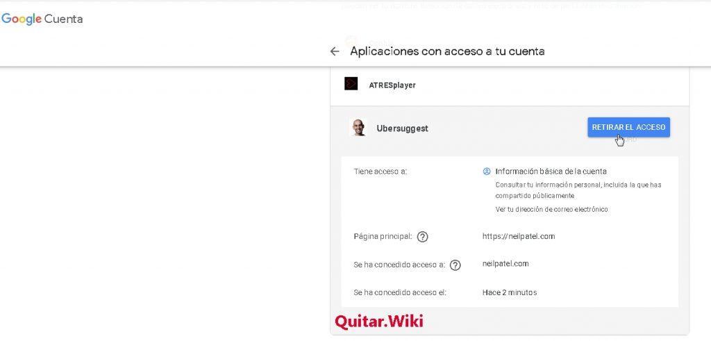 Retirar permisos de acceso a Google Neil Patel Ubersuggest